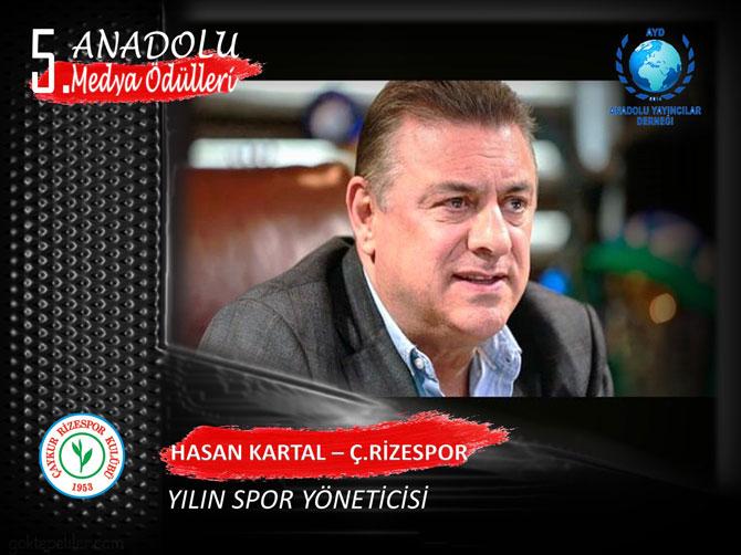 Çaykur Rizespor Kulüp Başkanı Hasan Kartal, Yılın Spor Yöneticisi Seçildi