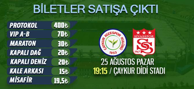 Çaykur Rizespor Sivasspor Maçı Biletleri Satışa Çıktı