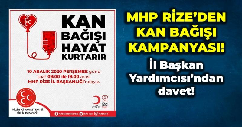 MHP Rize İl Başkanlığı Kızılay İçin Kan Toplayacak!