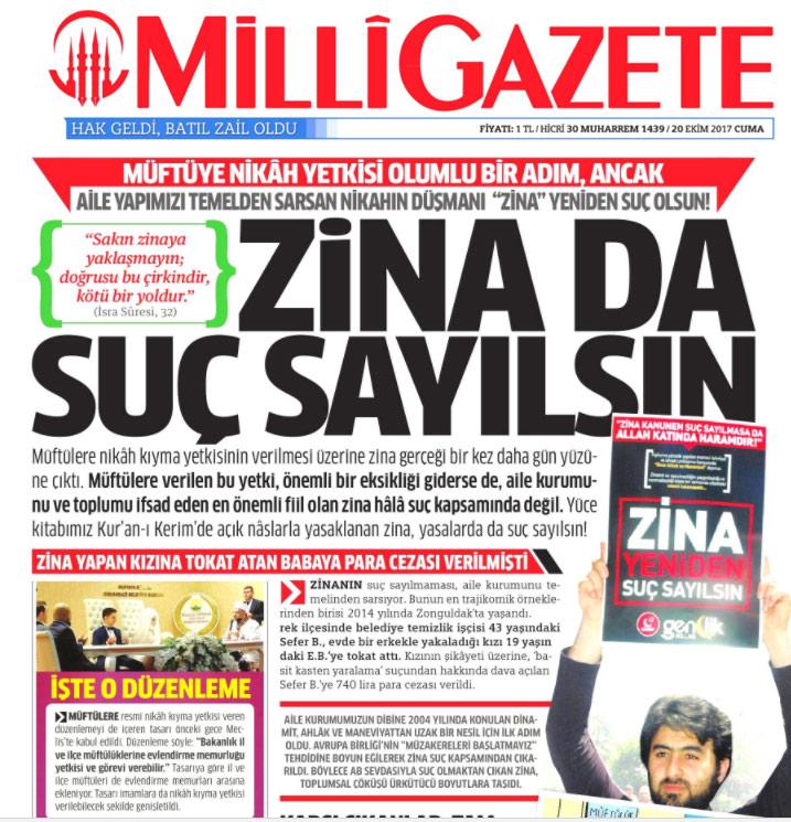 Millİ Gazete'den Zina Başlığı