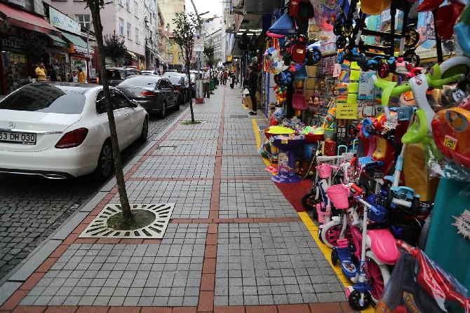 Rize Belediyesinden Kaldırım İşgaline Karşı Sarı Çizgi