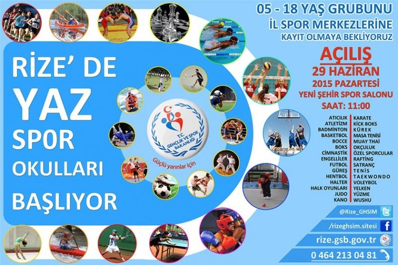 Rize'de Ücretsiz Yaz Spor Okulları Açılıyor
