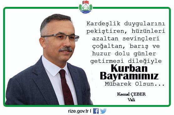 Vali Kemal Çeber'in Kurban Bayramı Mesajı