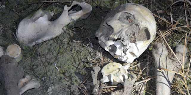 Gölde insan iskeleti bulundu