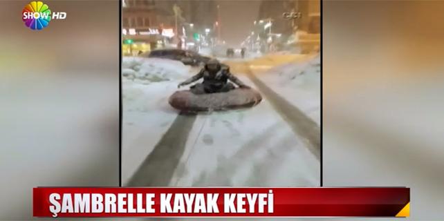 Rize'de şambrelle kayak keyfi