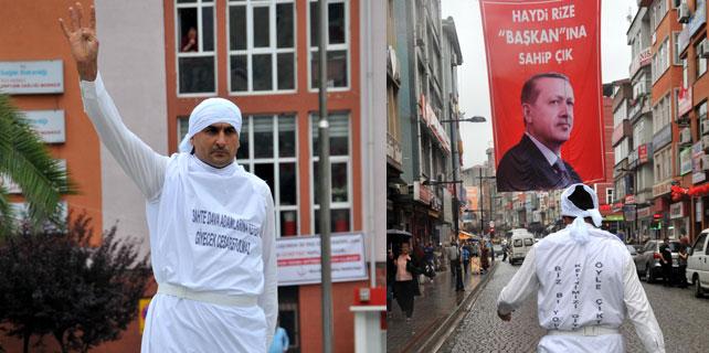 Rize'de kefenli seçim protestosu