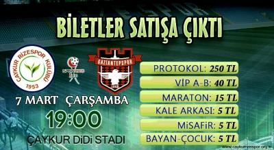 Çaykur Rizespor Gaziantepspor Maçı Biletleri Satışta