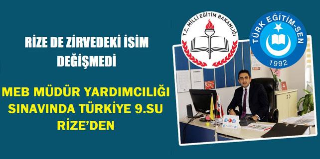 MEB sınavında Türkiye 9.'su Rize'den