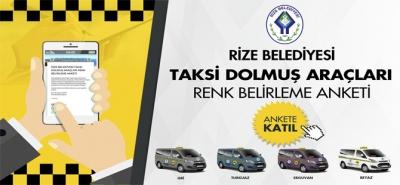 Rize Belediyesi Taksi Dolmuşları İçin Renk Belirleme Anketi Başlattı
