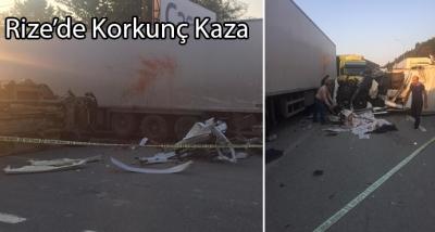 Rize'de korkunç kaza 1 ölü 1 yaralı