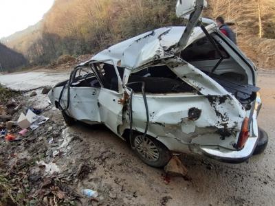 Rize'de Otomobil Şarampole Uçtu 1 Ölü