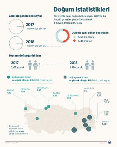 Türkiye'de doğum istatistikleri Yayımlandı